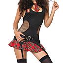 Naughty School Girl Negro Mash Top Red patrón de prueba de la falda del uniforme Sexy (4 Piezas)