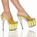 Zapatillas / Sandalias amarillas del caramelo del PVC superior 9cm Plataforma 20cm del talón de estilete de las mujeres