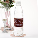 Agua personalizada Etiqueta Botella - Love (Brown Pink / Juego de 15)
