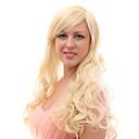 Sin tapa 20% del pelo humano ondulado rubio largo pelucas de pelo