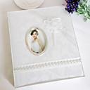 Blanco elegante de la boda álbum de fotos con oganza Flor
