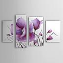 óleo pintada a mano de pintura de flores modernas florales conjunto de 4 con el marco estirado de 1307-fl0162