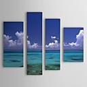 pintado a mano la pintura al óleo del paisaje del mar y el cielo juego de 4 con el marco de estirado 1307-ls0108