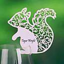 Ardilla lindo lugar en forma de tarjeta para la tarjeta del vidrio de vino (juego de 12)