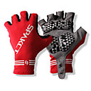 SPAKCT S13G03 Durable Polyester and Vinylal Materials Half Finger Gloves Design for Cycling Bicycle-Red