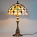 40W lámpara de mesa caliente retro con sombra Shell Natural Y Vertical Pole-con dibujos de rosas