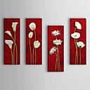 óleo pintada a mano de pintura de flores blancas florales conjunto de 4 con el marco estirado de 1307-fl0195