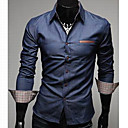 Camisa Denim para Hombre de Cuero con Corte Slim y Bolsillo