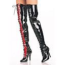 Negro Brillante y rojo PU 10.5cm del talón de estilete del muslo botas de alto