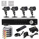 4CH D1 en tiempo real H.264 600TVL Definición CCTV DVR Kit High (4pcs impermeabilizan Día Noche CMOS Cámaras)