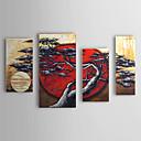 óleo pintada a mano de pintura de árboles botánicos y el sol rojo con juego de marco estirado de 4 1307-fl0155