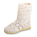 Chic Fabric Flat Heel MidCalf Boots With Hollowout Casual Shoes (More Colors)