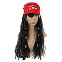 Pirata de Halloween Pañuelo Rojo  Negro peluca  visera Tuerto (3 piezas)