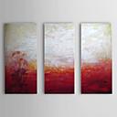 Óleo pintada a mano abstracta rojo y blanco con el marco de estirado Juego de 3 1309C-AB0808