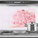 75x45cm Pink Rose Oil-a prueba de agua a prueba de Cocina etiqueta de la pared