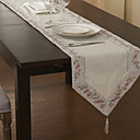"""16 """"x87"""" poliéster caminos de mesa florales de color beige clásico"""