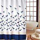 Continental Pájaros azules patrón impermeable gruesa de poliéster cortina de ducha
