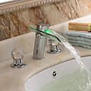 Contemporáneo cromado dos asas de cristal LED cascada baño grifo del fregadero