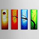 Pintado a mano la pintura al óleo del paisaje del árbol se extendía Frame Set de 4 1309-LS0985