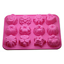12-in-1 Soft Cake Rubber / Pan / Mousse / Jelly / molde del chocolate (color al azar)