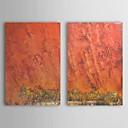 Óleo pintada a mano abstracta Shine rojo con el marco de estirado Juego de 2 1309-AB0865