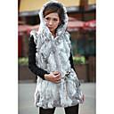 chaleco de piel con capucha sin mangas de piel de conejo partido / chaleco ocasional (más colores)