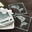 """""""Calas"""" Frosted Posavasos de cristal en caja de regalo Floral-Inspired"""
