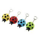 Plastic Seven-spotted Ladybug Shaped Keychain with LED Voice (Random Color)