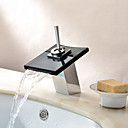 Contemporary Waterfall Bathroom Sink Faucet with Glass Spout