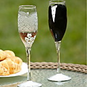 "Bride And Groom"" Design Champagne Toasting Flutes"
