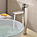 Morden Nickel Brushed Finish Solid Brass Bathroom Sink Faucet