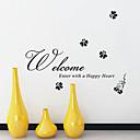 Bienvenido Introduzca con un corazón feliz Palabras pegatinas de pared