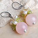 18k naturales pendientes plateados gema blanco perla - Rosa (1,7  1,7 cm)
