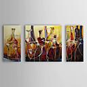 Óleo pintada a mano la pintura abstracta se extendía Botellas Frame Set de 3 1309-AB0880
