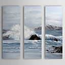 Pintado a mano la pintura al óleo del paisaje se extendía-Wave Frame Set de 3 1310-FL1138