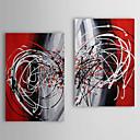 Aceite pintado a mano la pintura abstracta se extendía Circular Frame Set de 2 1311-AB1134