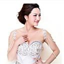 Aleación de plata plateado con Encanto Rhinestone y de la perla de la boda nupcial del hombro de la cadena de joyería-Set de 2