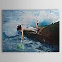 pintadas las personas pintura al óleo a mano agarrando con marco de estirado-1310 pe1193
