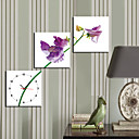 "12 ""-24"" Country Style Purple Flower reloj de pared en la lona 3pcs"