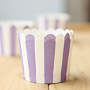Purple Striped Muffin Cups Cupcake Wrappers-Set of 50