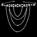 Aleación de plata elegante plateado con el Rhinestone boda nupcial de la joyería de cadena del hombro-Set de 2
