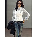 Womens Blouses Shirts New Polo Neck Stripes Long Puff Sleeve Cotton Casual Tops Blouses TShirt