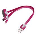 3-en-1 USB para la manzana cable fideos de sincronización de datos de 8 pin/micro/30-pin / cargador para 5/4/4s/samsung iphone (colores surtidos)