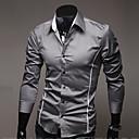camisa de manga larga delgada de la manera de los hombres Urun (gris)