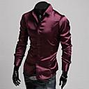 Brillante Casual Camisa de manga larga de imitación de seda delgado Duolunduo Hombres (vino)