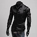 Brillante Casual Camisa de manga larga de imitación de seda delgado Duolunduo hombres (Negro)