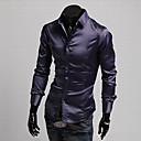 Brillante Casual Camisa de manga larga de imitación de seda delgado Duolunduo Hombres (púrpura)