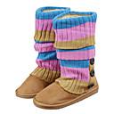 Botón de invierno de las mujeres hizo punto Boots Mediados de-Becerro