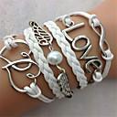 Cuerda de cuero de moda y de aleación de la perla del doble de la pulsera del corazón