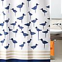 "Cortina de ducha azul marino Birds gruesa tela resistente al agua W71 ""x L78"""